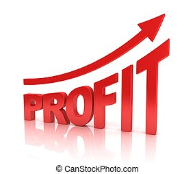 profit graph with arrow
