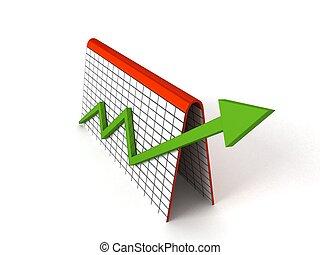 profit, graphique, flèches, vert