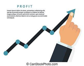 Profit growing business concept. Finger up holding chart arrow. Vector
