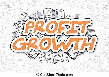 Profit Growth - Doodle Orange Inscription. Business Concept.
