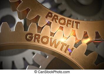 Profit Growth on the Golden Gears. 3D Illustration. - Profit...