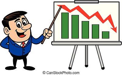 profit, homme affaires, présentation, perte