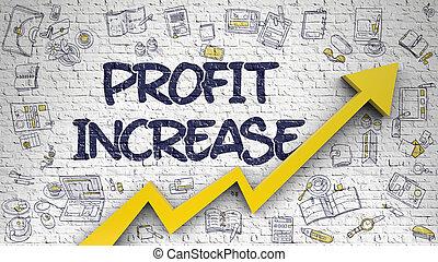 Profit Increase Drawn on Brick Wall.