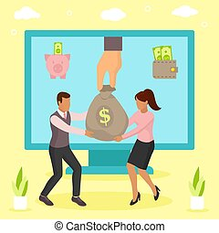 profit, informatique, business, illustration., entrant, vecteur, ligne, financier, argent, concept