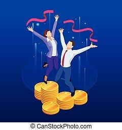 profit, isométrique, femme, fortune, reussite, réussi, concept., argent, bon, lot, luck., investissement, content, homme