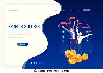 profit, isometric, kvinna, förmögenhet, framgång, framgångsrik, concept., pengar, bra, lott, luck., investering, glad, man