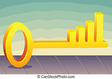 Profit Key - illustration of bar graph in key on abstract...