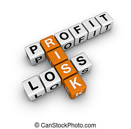 risk - profit, loss and risk (blue-white cubes crossword...