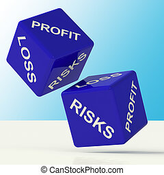 Profit Loss And Risks Blue Dice Showing Market Risk