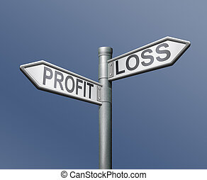 profit loss risk road sign on blue background financial risk...