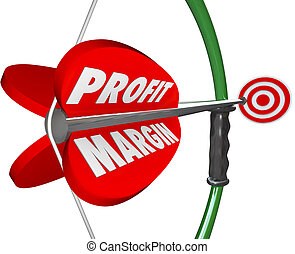 Profit Margin words on an arrow and bow about to aim and shoot at a bulls-eye or target to illustrate competing and winning an increase in earnings through big sales or efficient operations
