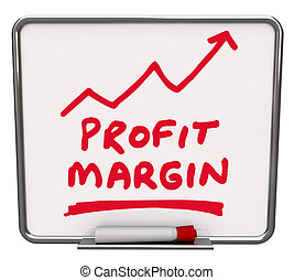 Profit Margin words and an arrow rising drawn on a dry erase board with red marker or pen to illustrate an increase in net earnings or money made by a business or company