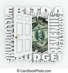 profit, meddelad, budget, investering, påstående, bokföring, ebitda