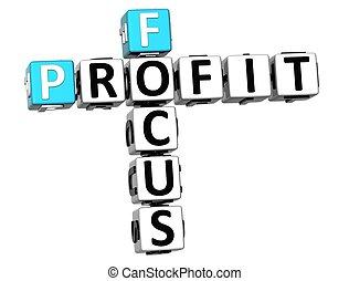 profit, mots croisés, foyer, 3d