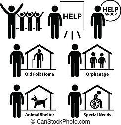 profit, non, social service, volontär
