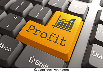 Profit on Orange Keyboard Button. - Profit with Growth Chart...