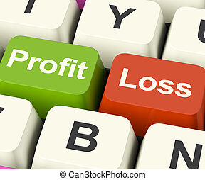 Profit Or Loss Keys Showing Returns For Internet Businesses