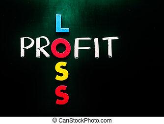profit, perte, concept affaires, mots, sur, tableau noir