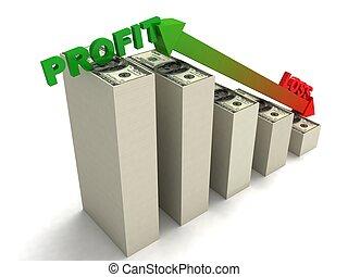 profit, perte, monnaie, euro, graphique