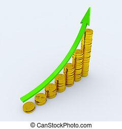 profit, projection, pièces, gain