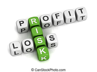 profit risk loss cubes concept illustration - profit risk...