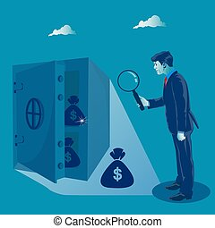 Profit search. Businessman looking at safe with money through magnifying glass. Business concept vector