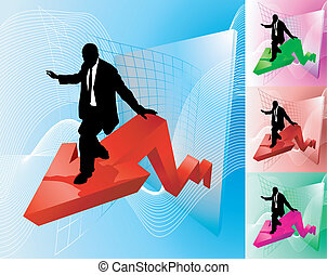 Conceptual piece; business person surfing at the forefront of growth or profit increase