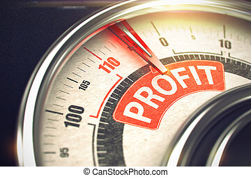 Profit - Text on Conceptual Scale with Red Needle. 3D. -...