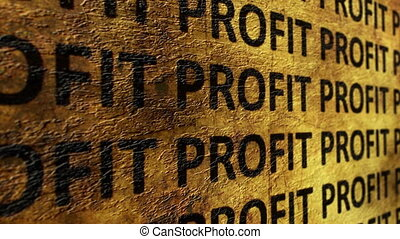 Profit text on grunge background