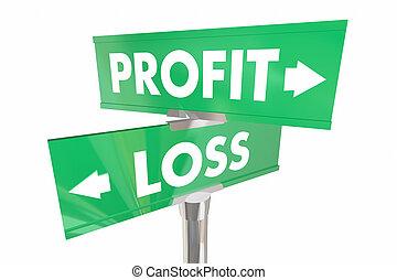 Profit Vs Loss Earn Make Money Two Road Signs 3d...