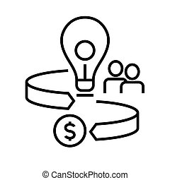 Profit way line icon, concept sign, outline vector illustration, linear symbol.