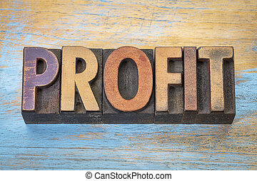profit word in letterpress type