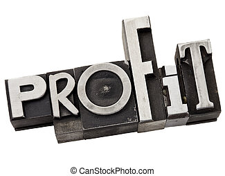 profit word in metal type