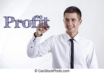 Profit - Young smiling businessman writing on transparent surface