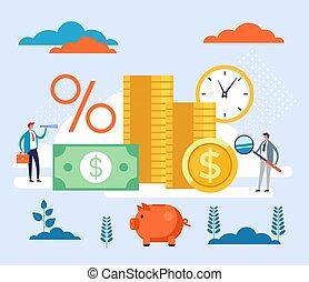 Profitable business concept. Vector flat cartoon graphic design illustration
