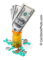 A close up image of hundred dollar bills growing out of a prescription bottle, as well as a scatter of quarters and capsules around the base of the bottle. An illustration of the growing profits of pharmaceutical companies.