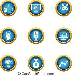 Profiteering icons set, flat style - Profiteering icons set....