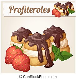 Profiteroles with chocolate and strawberry. Detailed vector icon
