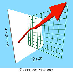 profits are up! - A 3d graph showing profits shooting up...