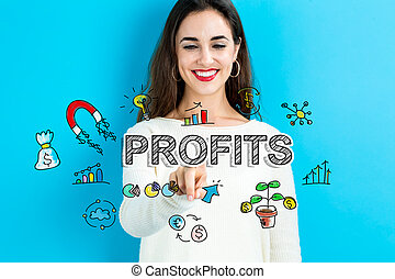 Profits text with young woman