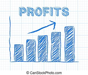 Profits Up Graph Paper - Increasing graph and profits word...