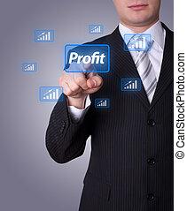profitto, bottone, urgente, uomo