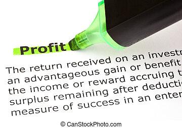 profitto, evidenziato, in, verde