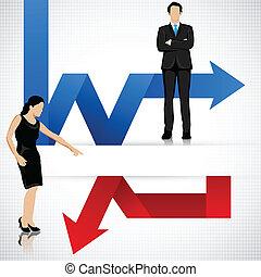 profitto, perdita, freccia, persone affari