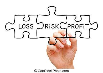 profitto, perdita, puzzle, concetto, rischio