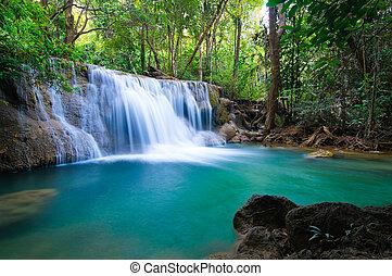 profond, kanchanaburi, chute eau, thaïlande, forêt