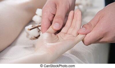 profond, masage, gros plan, kinésithérapeute, paume, girl,...