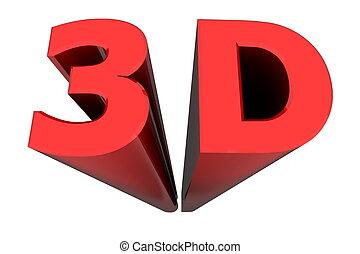 profondeur, 3d, mot, rouges, espace