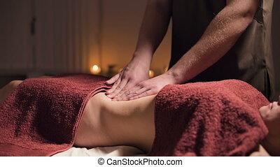 profondeur, abdomen, élite, professionnel, field., masage, ...