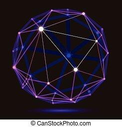profondeur, conception, 3d, numérique, résumé, abstraction, vecteur, polygonal, treillis, science, style, maille, dimensionnel, technologie, effect., sphère, champ, dynamique, réaliste, points, lignes, connexions
